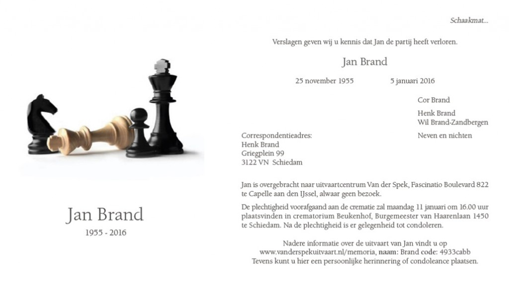 In Memoriam Jan Brand