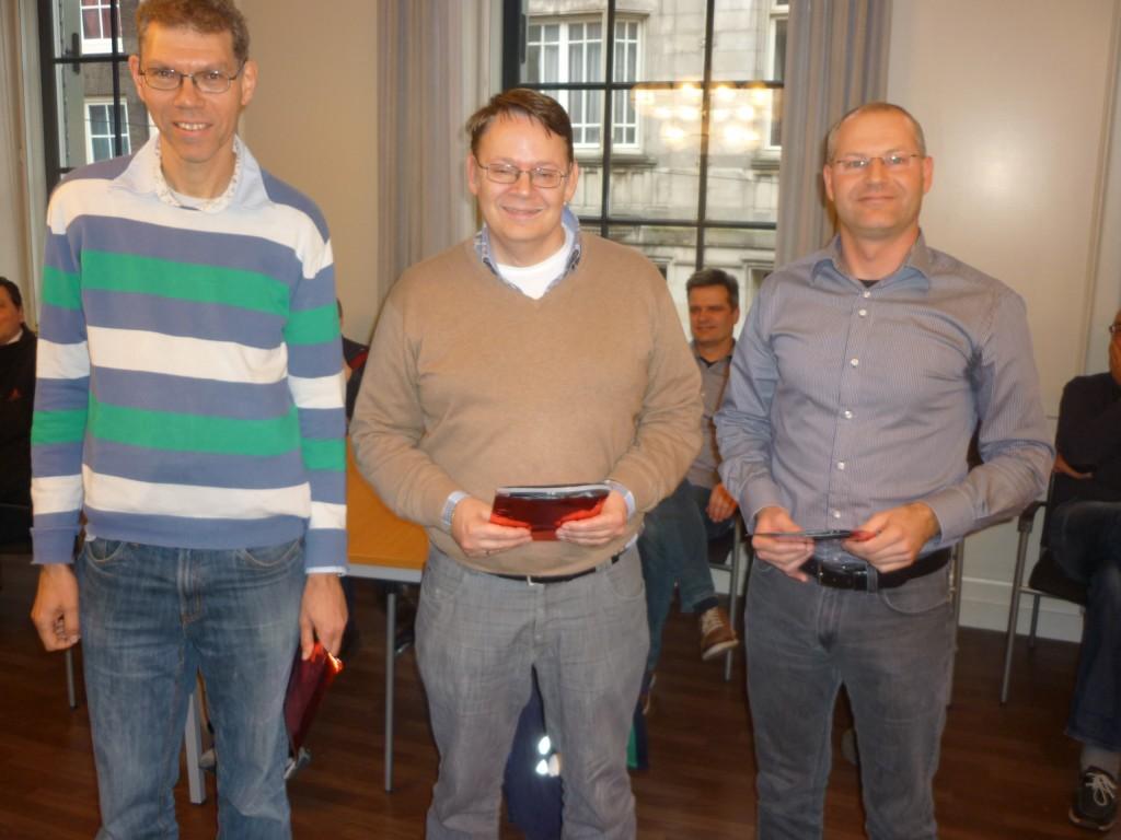 Winnaars 1e groep v.l.n.r. Paul de Freytas, Philip Westerduin, Marco van der Linden
