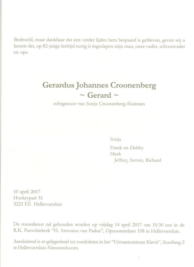 Gerard Croonenberg - rouwkaart